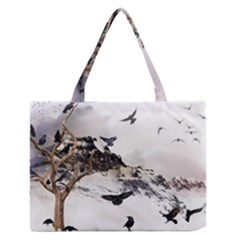 Birds Crows Black Ravens Wing Zipper Medium Tote Bag by BangZart