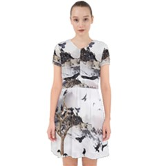 Birds Crows Black Ravens Wing Adorable In Chiffon Dress