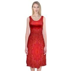 Mandala Ornament Floral Pattern Midi Sleeveless Dress
