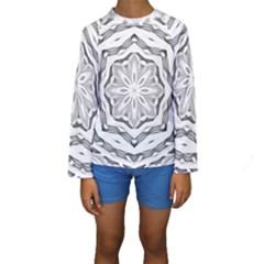 Mandala Pattern Floral Kids  Long Sleeve Swimwear