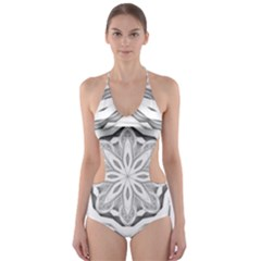 Mandala Pattern Floral Cut Out One Piece Swimsuit