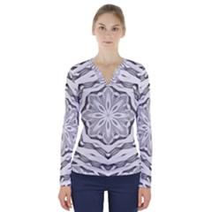 Mandala Pattern Floral V Neck Long Sleeve Top