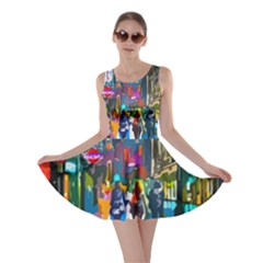 Abstract Vibrant Colour Cityscape Skater Dress