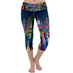 Abstract Vibrant Colour Cityscape Capri Yoga Leggings