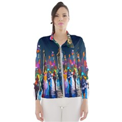 Abstract Vibrant Colour Cityscape Wind Breaker (women)