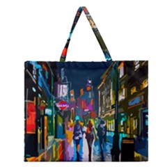 Abstract Vibrant Colour Cityscape Zipper Large Tote Bag