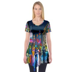 Abstract Vibrant Colour Cityscape Short Sleeve Tunic