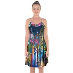 Abstract Vibrant Colour Cityscape Ruffle Detail Chiffon Dress