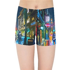 Abstract Vibrant Colour Cityscape Kids Sports Shorts