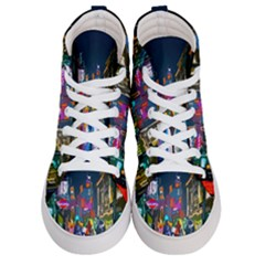 Abstract Vibrant Colour Cityscape Women s Hi Top Skate Sneakers
