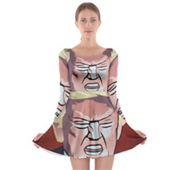 Donald Trump Pop Art President Usa Long Sleeve Skater Dress