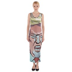 Donald Trump Pop Art President Usa Fitted Maxi Dress