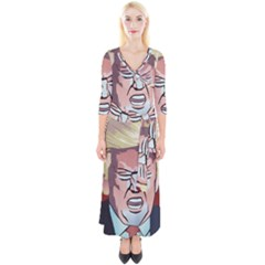 Donald Trump Pop Art President Usa Quarter Sleeve Wrap Maxi Dress