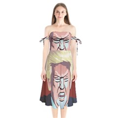 Donald Trump Pop Art President Usa Shoulder Tie Bardot Midi Dress