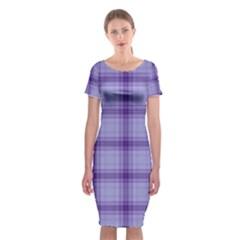 Purple Plaid Original Traditional Classic Short Sleeve Midi Dress
