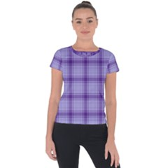 Purple Plaid Original Traditional Short Sleeve Sports Top