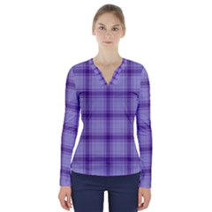 Purple Plaid Original Traditional V Neck Long Sleeve Top