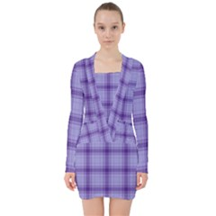 Purple Plaid Original Traditional V Neck Bodycon Long Sleeve Dress