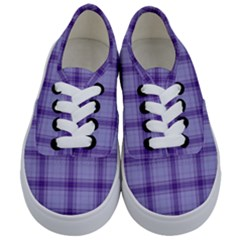 Purple Plaid Original Traditional Kids  Classic Low Top Sneakers