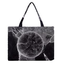 Space Universe Earth Rocket Zipper Medium Tote Bag