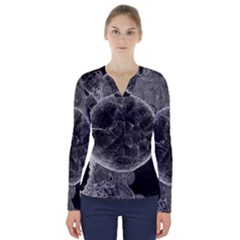 Space Universe Earth Rocket V Neck Long Sleeve Top