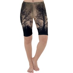 Tree Bushes Black Nature Landscape Cropped Leggings