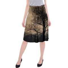 Tree Bushes Black Nature Landscape Midi Beach Skirt