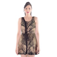 Tree Bushes Black Nature Landscape Scoop Neck Skater Dress
