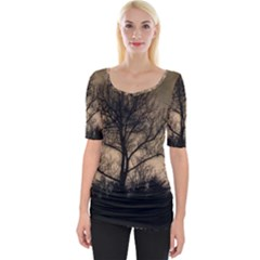 Tree Bushes Black Nature Landscape Wide Neckline Tee