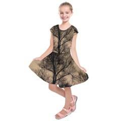 Tree Bushes Black Nature Landscape Kids  Short Sleeve Dress