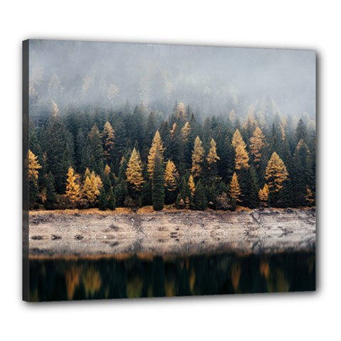 Trees Plants Nature Forests Lake Canvas 24  X 20  by BangZart