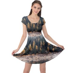 Trees Plants Nature Forests Lake Cap Sleeve Dress