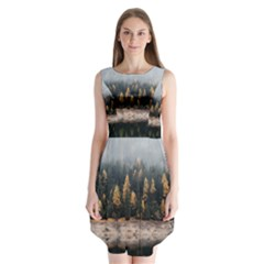Trees Plants Nature Forests Lake Sleeveless Chiffon Dress
