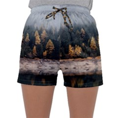 Trees Plants Nature Forests Lake Sleepwear Shorts
