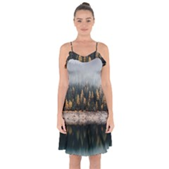 Trees Plants Nature Forests Lake Ruffle Detail Chiffon Dress