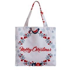 Merry Christmas Christmas Greeting Zipper Grocery Tote Bag by BangZart