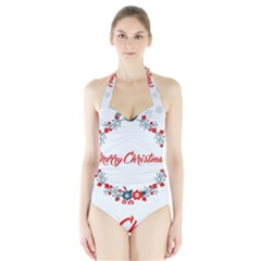 Merry Christmas Christmas Greeting Halter Swimsuit