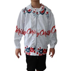 Merry Christmas Christmas Greeting Hooded Wind Breaker (kids)