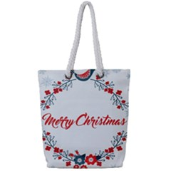 Merry Christmas Christmas Greeting Full Print Rope Handle Tote (small) by BangZart
