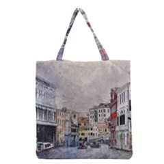 Venice Small Town Watercolor Grocery Tote Bag by BangZart