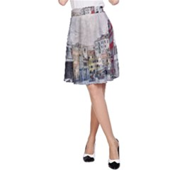 Venice Small Town Watercolor A Line Skirt by BangZart