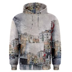 Venice Small Town Watercolor Men s Pullover Hoodie