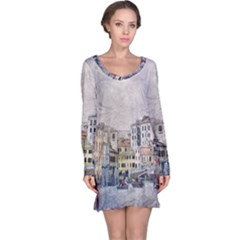 Venice Small Town Watercolor Long Sleeve Nightdress by BangZart
