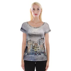 Venice Small Town Watercolor Cap Sleeve Tops