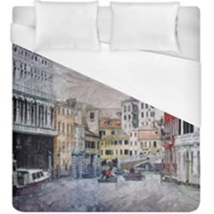 Venice Small Town Watercolor Duvet Cover (king Size) by BangZart