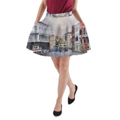 Venice Small Town Watercolor A Line Pocket Skirt by BangZart