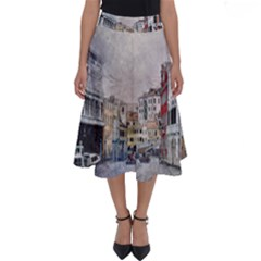 Venice Small Town Watercolor Perfect Length Midi Skirt