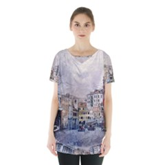 Venice Small Town Watercolor Skirt Hem Sports Top