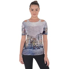 Venice Small Town Watercolor Short Sleeve Top