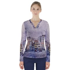 Venice Small Town Watercolor V Neck Long Sleeve Top